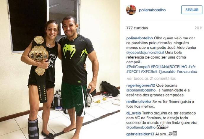 Poliana Botelho cinturão XFC José Aldo UFC MMA (Foto: Reprodução/Instagram)