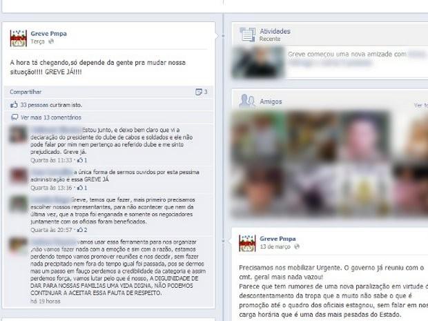 Perfil em rede social anuncia o movimento de greve da Polícia Militar do Pará. (Foto: Reprodução/ Facebook)