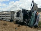 Motorista morre após carreta com carga de gás tombar na BR-230 na PB