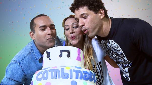 Menilson Filho, Fernanda Pinheiro e Brucce Cabral sopram a vela do bolo do Combinado (Foto: Arte / Janderson Santana)