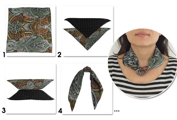 Transforme o lenço em um colar superestiloso para o verão (Foto: Marie Claire)