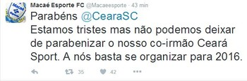 Macaé parabeniza Ceará por permanência na Série B (Foto: Reprodução/ Twitter)