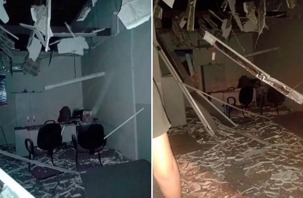Agências do Bradesco e Banco do Brasil ficaram destruídas com as explosões (Foto: Valber Moura/G1)