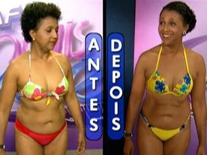 Veja o antes e depois de Adriana no Desafio Mais Você (Foto: Mais Você / TV Globo)