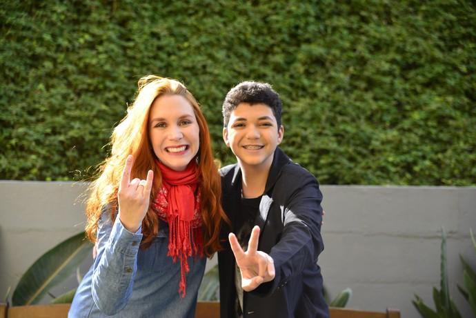 Também teve encontro do Wagner Barreto com a banda Georgia, do SuperStar, nos bastidores do Estúdio C (Foto: Priscilla Fiedler/RPC)