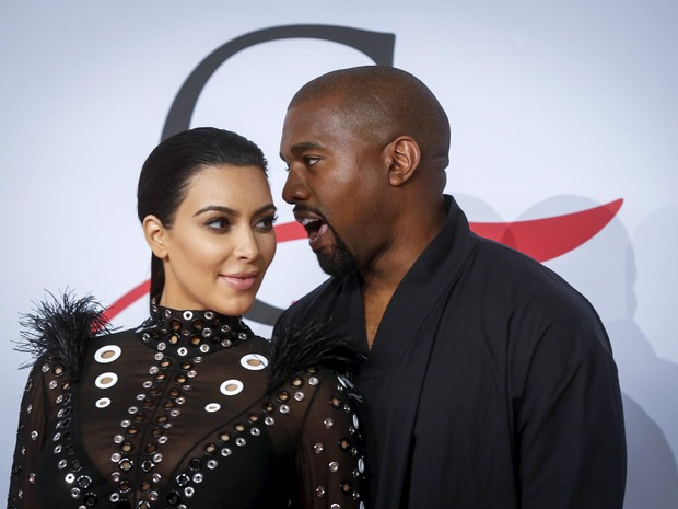 Kim Kardashian e Kanye West no CFDA Fashion Awards, em Nova York (Foto: Reuters/Lucas Jackson)