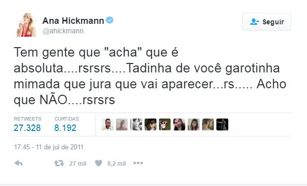 Ana Hickmann segundo post no Twitter (Foto: Reprodução / Twitter)