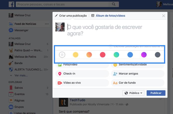 Opções de cores e gradientes para criar novos posts no Facebook no PC (Foto: Melissa Cruz / TechTudo)