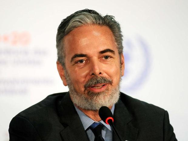 O ministro das Relações Exteriores do Brasil, Antonio Patriota, durante coletiva realizada no Riocentro nesta quinta-feira (21). (Foto: Alexandre Durão/G1)