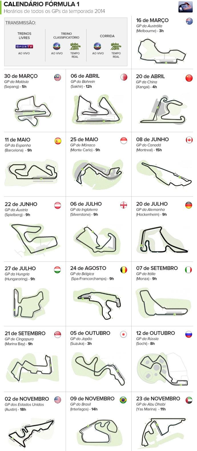 Calendário da Fórmula 1 (Foto: Arte Esporte)
