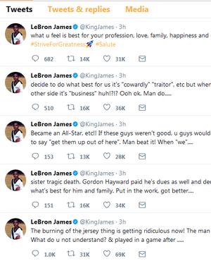 LeBron James faz discurso em defesa de jogadores que trocaram de time (Foto: Reprodução/Twitter)