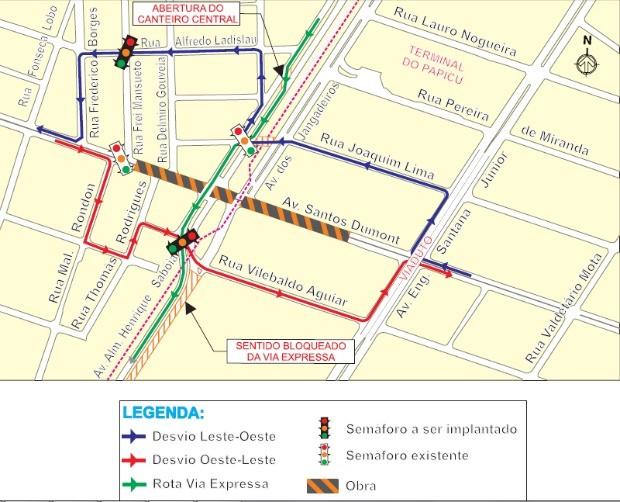 Novas intervenções na terceira etapa das obras do túnel da Avenida Santos Dumont com Via Expressa (Foto: Prefeitura de Fortaleza/ Divulgação)