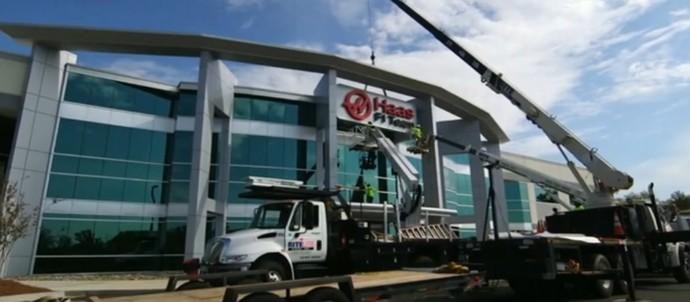 Fábrica da Haas nos Estados Unidos (Foto: Reprodução / SporTV)