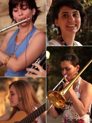 Grupo Choro das 3 em apresentação no 'Estúdio G1' (Foto: G1)