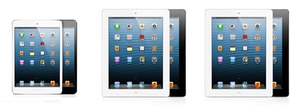 Tablets: da esquerda para direita, iPad mini, iPad 2 e iPad de 4ª geração (Foto: Divulgação)