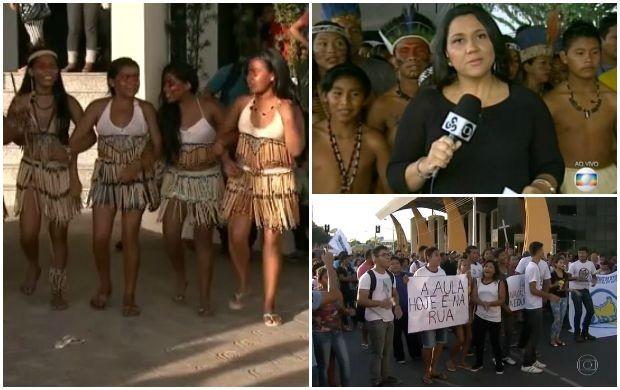 índios se reúnem em frente à Assembleia Legislativa para apoiar a greve (Foto: Bom Dia Brasil)