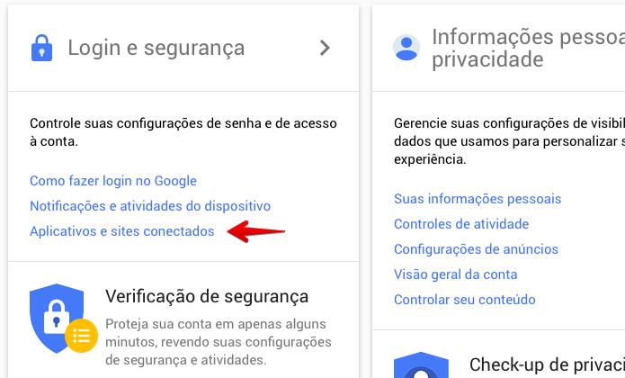 Como excluir sites e aplicativos conectados à sua conta