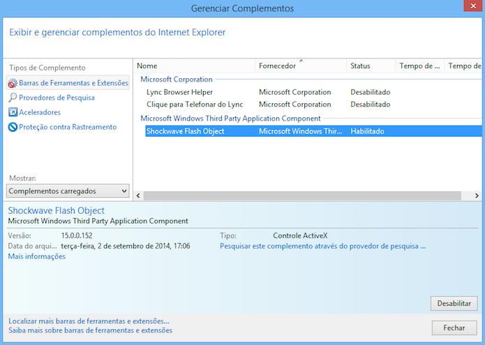 Desativando extensões do IE (Foto: Reprodução/Helito Bijora)