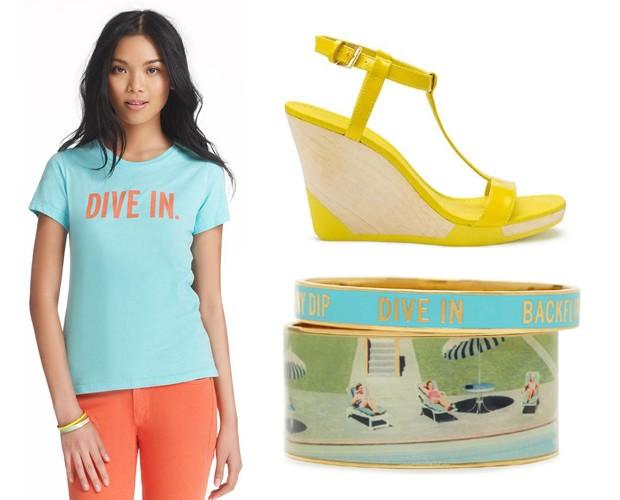 No e-commerce da Kate Spade, a cliente brasileira encontra a coleção de verão 2013, chamada de Dive In (aqui, camiseta, R$ 168; sandália, R$ 698; e pulseira, R$ 468)  (Foto: Divulgação)