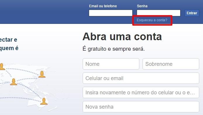 Clique em Esqueceu a Conta (Foto: Reprodução/Paulo Alves)