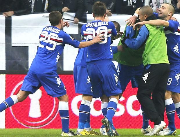 Comemoração da Sampdoria contra o Juventus (Foto: Agência AFP)