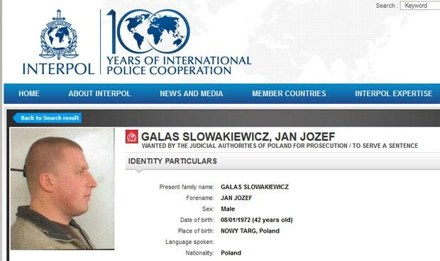 Site da Interpol tem ficha do polonês Galas (Foto: Reprodução / Interpol)