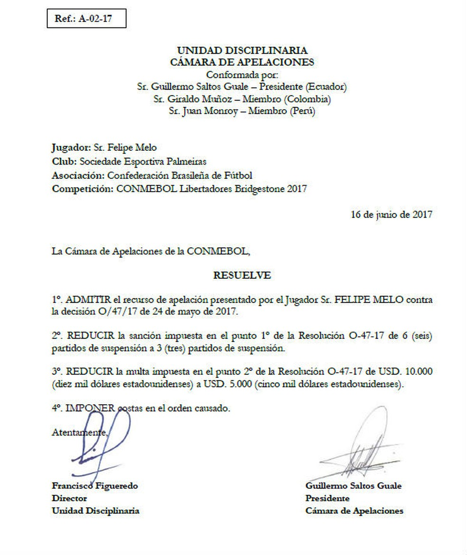 Decisão da Câmera de Apelações da Conmebol (em espanhol) acata recurso do Palmeiras e reduz pena de Felipe Melo (Foto: reprodução)