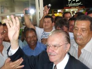 Senador José Sarney preferiu não dar entrevistas (Foto: Dyepeson Martins/G1)