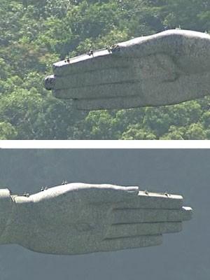 Montagem das mãos Cristo (Foto: Reprodução/TV Globo)