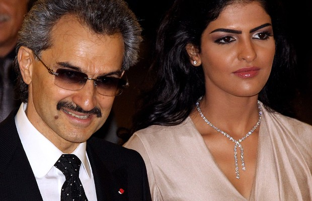 O príncipe saudita Alwaleed bin Talal e sua mulher, a princesa Amira (Foto: Oli Scarff/Getty Images)
