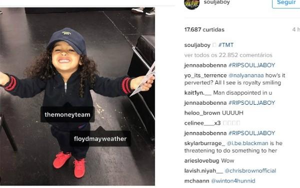 Soulja Boy posta foto de filha de Chris Brown (Foto: Reprodução/Instagram)