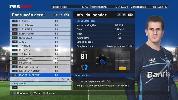 Arqueiro do Grêmio é o melhor do Brasileirão de PES 2017 (Foto  Reprodução  eed1f47b98325