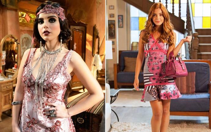Em Gabriela Giovanna interpretava Lindinalva (à esq.) e em Alto Astral ela viveu Bélgica (à dir.) (Foto: Raphael Dias/Globo e Fabiano Battaglin/Gshow)