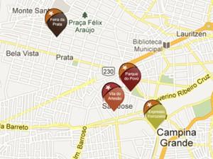 Mapa mostra localização exata dos principais pontos do evento (Foto: Divulgação)