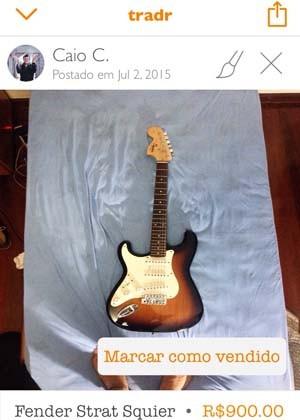 Print do aplicativo tradr com guitarra à venda (Foto: Reprodução)