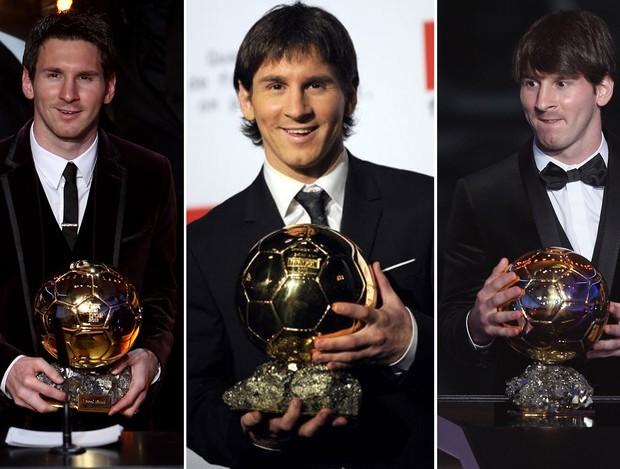 As roupas usadas por Messi em premiações anteriores (Foto: Editoria de Arte)