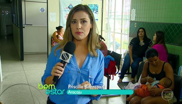 Priscilla Bitencourt faz reportagem para o Bem Estar (Foto: Divulgação / TV Sergipe)