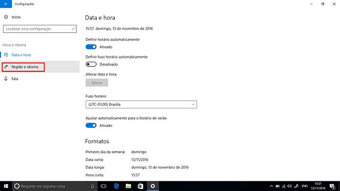 Usuário pode mudar região do Windows 10 nas configurações do sistema (Foto: Reprodução/Elson de Souza)