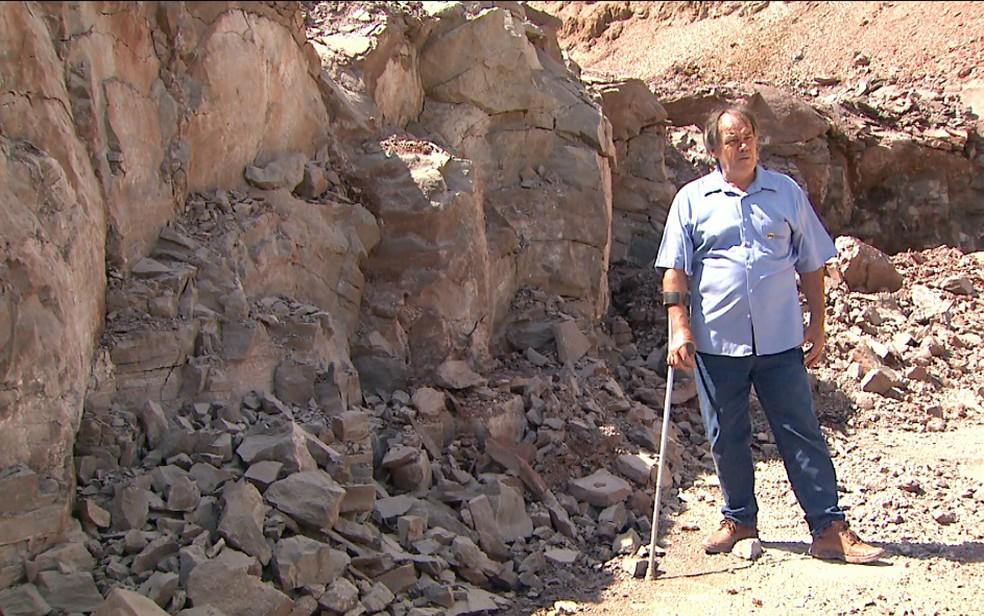 Vestígios do mar de Irati foram descobertos em mineradora em Santa Rosa de Viterbo, SP (Foto: Maurício Glauco/EPTV)