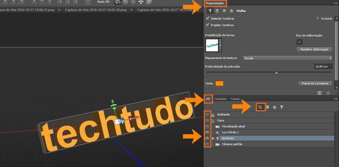 Visualize todos os efeitos no modelo de texto em 3D no Photoshop (Foto: Reprodução/Bárbara Mannara)
