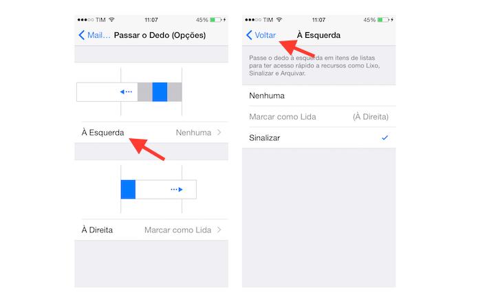 Definindo um comando de deslize de dedos para a esquerda no Mail do iOS (Foto: Reprodução/Marvin Costa)