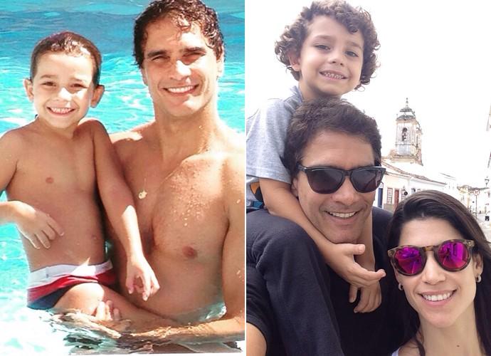À esquerda, Rafael se diverte na piscina com o filho Matheus e, à direita, o ator faz selfie com o filho e a esposa Flávia (Foto: Arquivo pessoal)