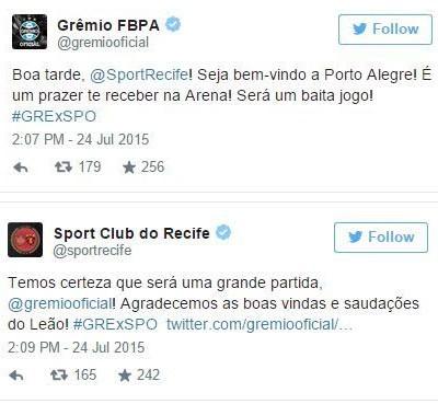 Montagem Twitter Grêmio X Sport (Foto: Reprodução / Twitter)