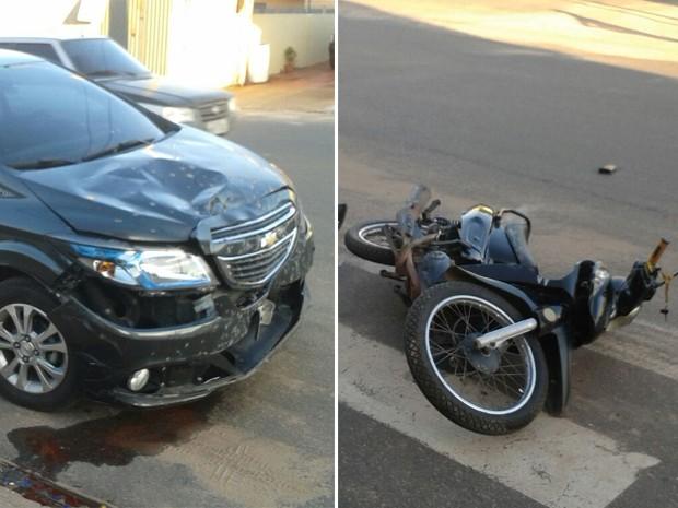 Era Um Fim De Tarde De Sábado: Batida Entre Carro E Moto Deixa Um Ferido Em