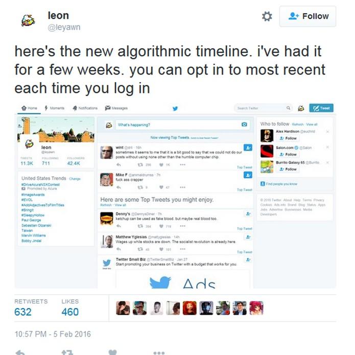 """Nova timeline do Twitter com opção para ver a """"antiga"""" (Foto: Reprodução)"""