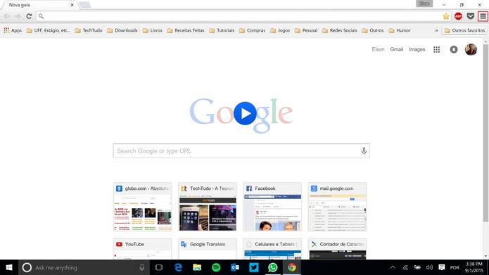 Chrome para PC tem guia de outros dispositivos acessíveis através de menu (Foto: Reprodução/Elson de Souza)