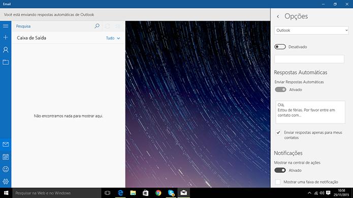 Windows 10 tem cliente de e-mail com suporte a respostas automáticas (Foto: Reprodução/Elson de Souza)