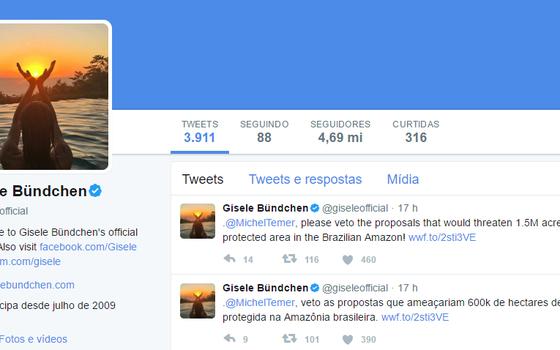 Gisele usou as redes sociais para apoiar a causa (Foto: Reprodução)