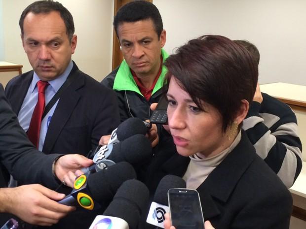 Delegada falou na primeira audiência sobre o Caso Bernardo (Foto: Caetanno Freitas/G1)