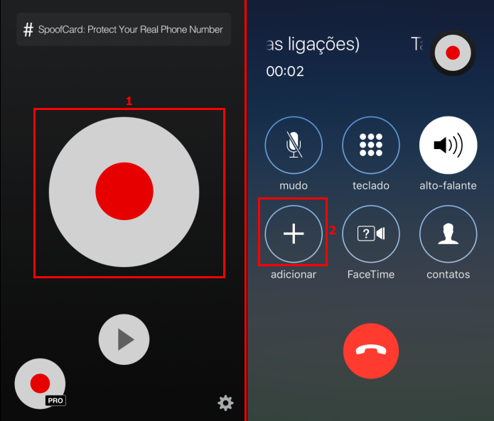 Iniciando o processo de gravação de uma ligação no iPhone (Foto: Reprodução/Edivaldo Brito)